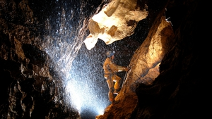 Rescue workers in south-east Germany's Riesending cave where an explorer is lying injured 1,000m below