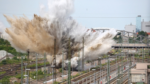 An aerial bomb is detonated in a railway area in Leipzig, Germany