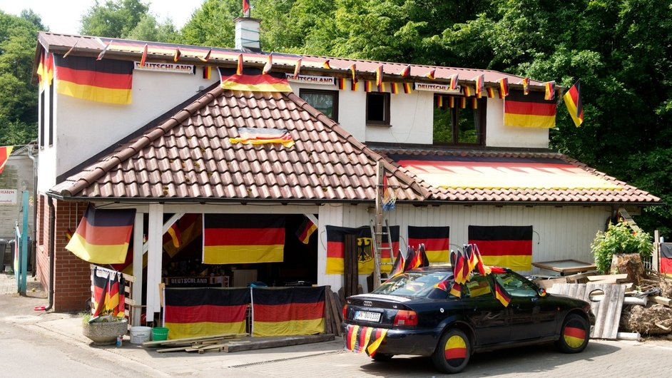 A German home and car are decorated in the country's colours
