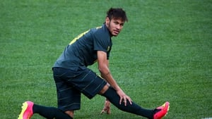 Brazilian soccer player Neymar in action during a training session at the Arena Corinthians stadium in Sao Paulo