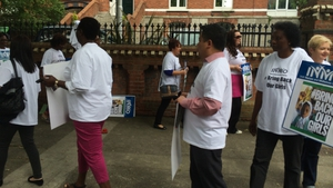 The INMO protesting outside the Nigerian Embassy in Dublin