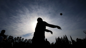 An Ireland player at a line-out during training in Argentina on Thursday
