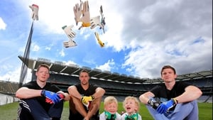Monaghan's Conor McManus, Cork's Ken O'Halloran and Dessie Mone of Monaghan with brothers Charlie (6) and Tommy (5) Mone at a product launch in Croke Park on Saurday