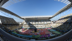 The opening ceremony begins at Arena Corinthians in Sao Paolo