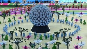 Dancers in the first segment of the ceremony were dressed to represent Brazil's natural treasures