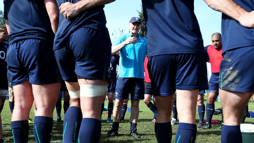 Joe Schmidt talks to his team during training at Tucumán Universitario Rugby Club on Thursday