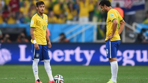 Neymar sets up to kick things off following the own goal