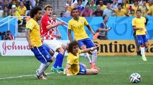 David Luiz was not pleased at the play, which put Croatia up 1-0 early on
