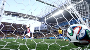 A Croatian player celebrates his team's quick stroke of luck