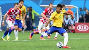 Neymar takes the penalty for his team...
