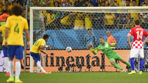 Neymar (centre) scored a brace for Brazil as they overcame Croatia in Sao Paulo