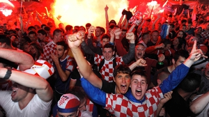Croatian fans celebrate the opening of the 2014 Word Cup in Zagreb