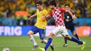 Brazilian midfielder Oscar scampers ahead in the first minute of extra time