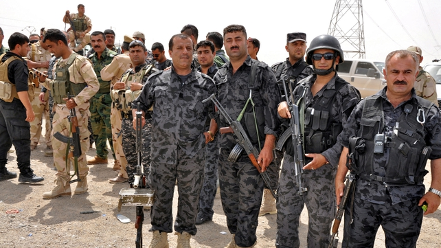 Kurdistan's Peshmerga forces secure an area in Kirkuk city in northern Iraq
