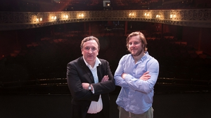 Gary Lydon and Peter Coonan as the older and younger Behan pictured on the stage of the Gaiety