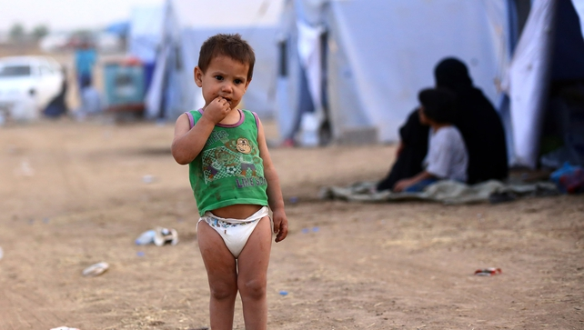 An Iraqi child at a refugee camp near the city of Erbil