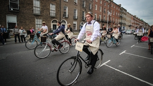 The 'Bloomsday gang' in Dublin this morning (Pic: Steven Sheehy)