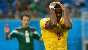 Eto'o reacts after his failure to do so