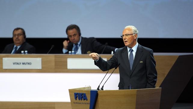 Franz Beckenbauer speaking at the 61st FIFA Congress at Hallenstadion