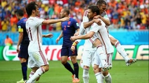The World Champions celebrate their early opening match lead