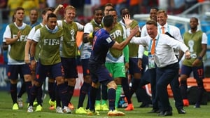 ... and new head man Louis van Gaal enjoyed the moment as well