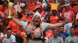 And, not to be outdone, Netherlands fans showed up ready to go, with the World Cup trophy in tow