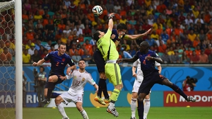 And just over 10 minutes later, Netherlands defender Stefan de Vrij (#3) wrangled a free kick into the net with a sneaky header
