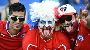 Fans of Chile made the much shorter trek and loudly made their presence know in the Arena Pantanal