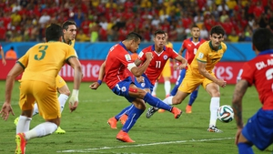 Chile forward Alexis Sanchez gave his country the lead early, scoring from six yards out at 12'