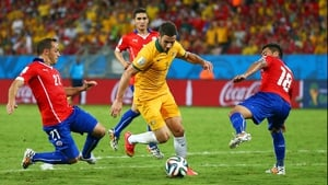 ...as forward Matthew Leckie kept the Socceroos squarely in the match throughout the second half, where the score stalled out at 2-1