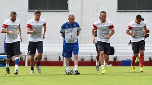 Switzerland's German coach Ottmar Hitzfeld (centre) oversees a training session of his players
