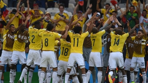 Much to the delight of the Colombia panel - who produced the celebration of the tournament so far