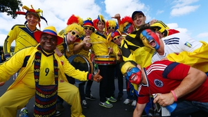 Colombian fans enjoy the atmosphere