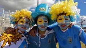 Uruguayan fans near Castelao Stadium in Fortaleza ahead of Uruguay vs Costa Rica