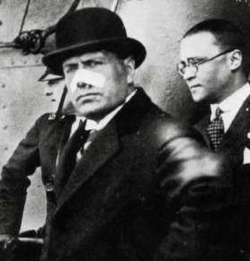 Bennito Mussolini appeared with a bandage on his nose after Violet shot him