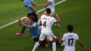 Uruguay went ahead with a penalty in the 24th minute