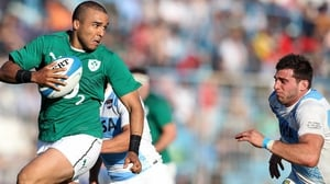 Simon Zebo suffered an injury at Ireland training in Galway today