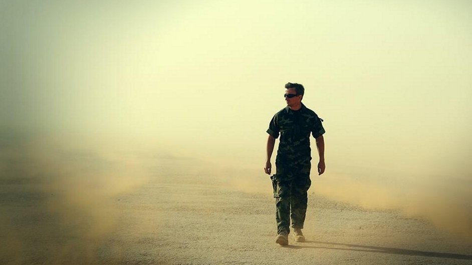 Irish Defence Force Captain Daly walks through sandstorm in Western Sahara