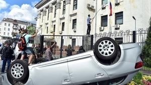 Russian Embassy in Kiev attacked after pro-Russian rebels killed 49 Ukrainian troops