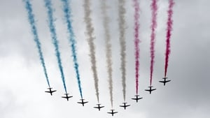 The Red Arrows fly over Buckingham Palace during Trooping the Colour