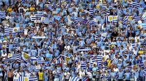 Uruguay supporters at World Cup 2014 group D preliminary round match between Uruguay and Costa Rica