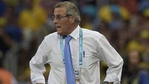 Oscar Tabarez looks on as Uruguay take on Costa Rica