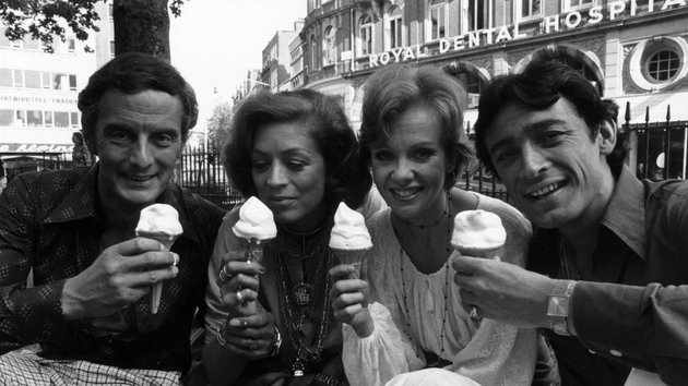 (left to right) Francis Matthews, Jill Melford, Hayley Mills and her husband Leigh Lawson. (Photo by Ronit Scho