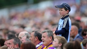 A young Dublin fan watches his county take on Wexford in the Leinster Hurling Championship