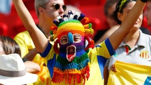 That can't be comfortable - An Ecuador fan sports a woolly balaclava