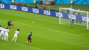 And Karim Benzema duly obliged, putting France ahead just before the break