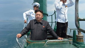 Kim Jong-un pictured in June on board a North Korean navy vessel