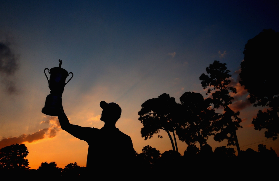 Martin Kaymer of Germany celebrates after winning the US Open at Pinehurst, North Carolina