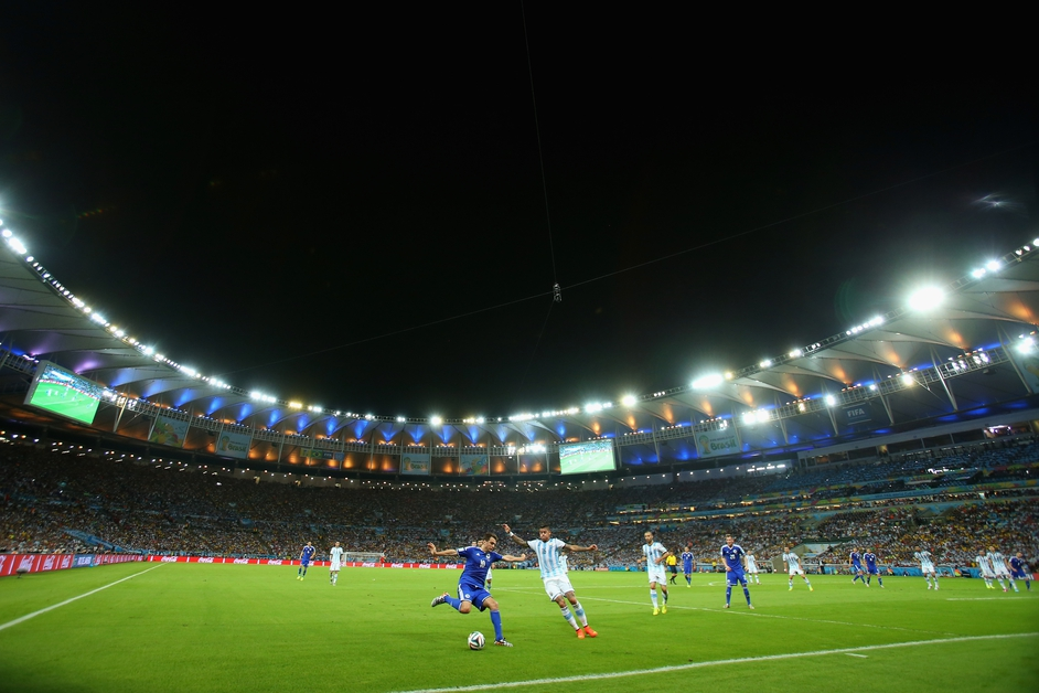 Zvjezdan Misimovic in possession for Bosnia and Herzegovina against Argentina inside the Maracana stadium