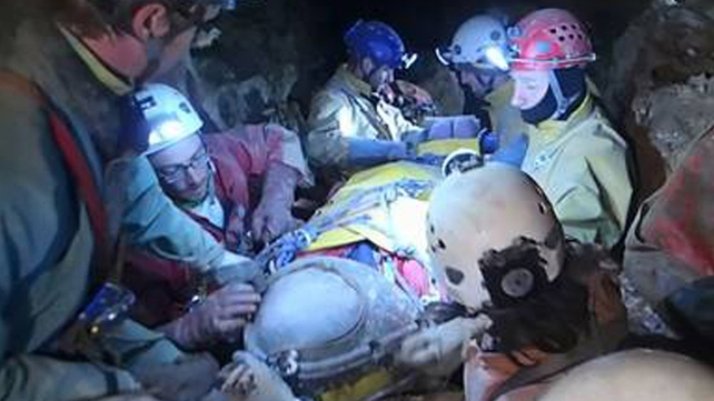 German rescuers have brought to safety an injured caver